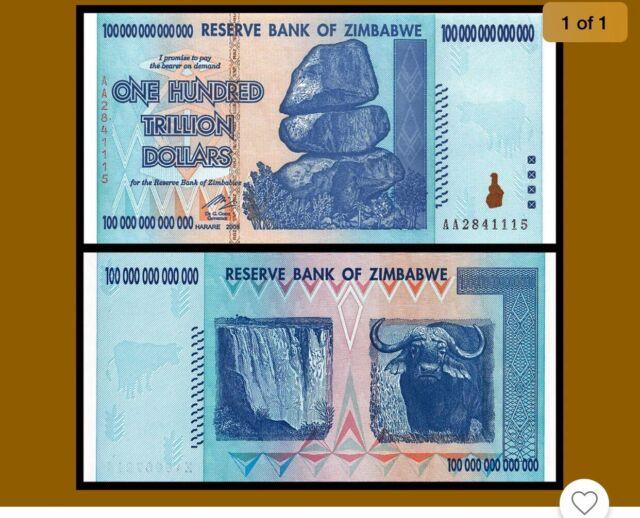 ZIMBABWE 100 TRILLION DOLLARS 2008 P 91 AA BANKNOTE CURRENCY UNC