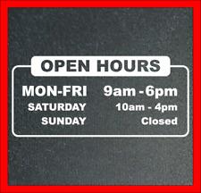 Business Store Open Hour Decal Vinyl Sticker Window Door Wall Sign Decals