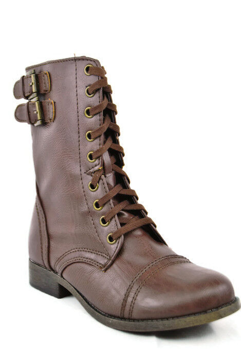 Rampage Jaycer Women's Brown Lace Up Zip Fashion Ankle Bootie,New,6M,0184