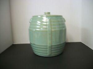 Vintage-Zanesville-Stoneware-Pottery-Seacrest-Green-Barrel-Cookie-Jar