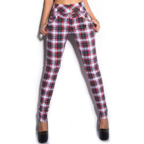 Taille Haute Tartan Jeans Carreaux Pantalon Coupe Skinny par KOUCLA