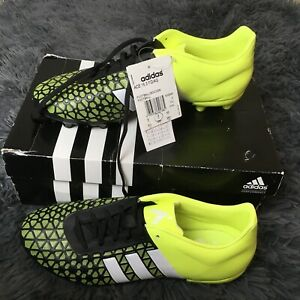 Entierement-neuf-dans-sa-boite-ADIDAS-ACE-15-3-FG-Ag-Black-White-Solar-jaune-Chaussures-de-football