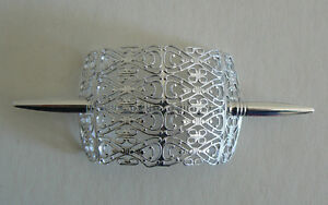 SALE-Filigree-Vintage-Hair-Clip-Pin-West-Germany-Light-Weight-Never-Worn-SilverE