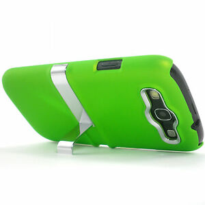 Deluxe-Green-Hard-Case-Cover-With-Chrome-Stand-Samsung-Galaxy-S3-SIII-i9300-NEW