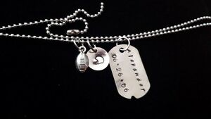 BOYS PERSONALIZED HAND STAMPED METAL DOG TAG WITH FOOTBALL CHARM NEW!