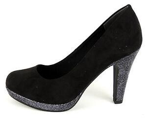 more photos 94236 d54ee Details zu MARCO TOZZI Damen Pumps schwarz Glitter 10cm-Absatz mit PLATEAU