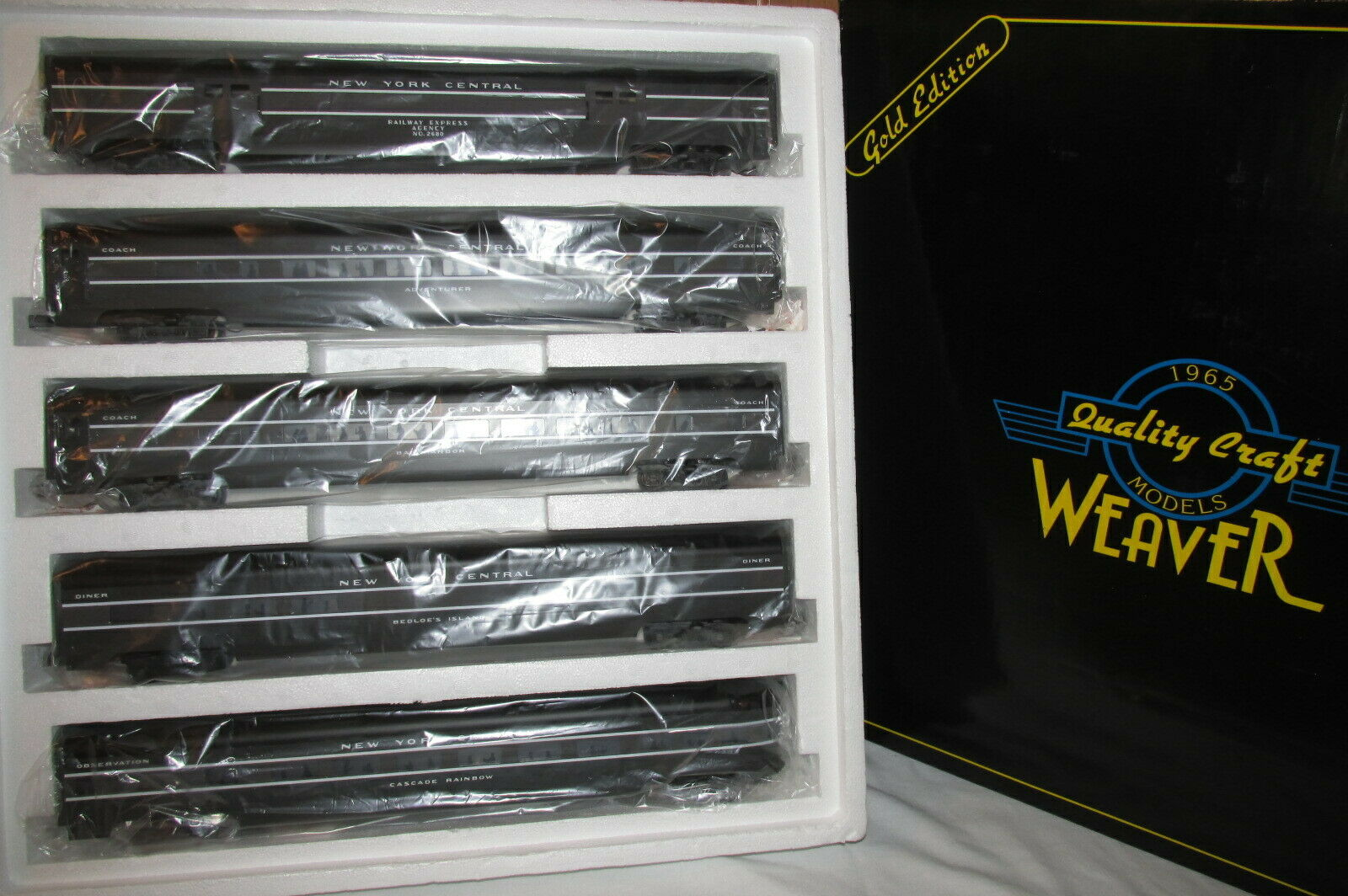 Weaver New York Central, NYC 5 Car Aluminum Passenger 20  Set gold Ed Lighted