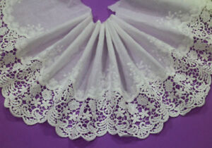 LOT-5-Yards-Embroidery-Polyester-Cotton-Off-White-Lace-Trim-Wide-19-CM