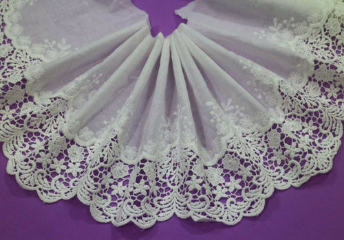 LOT 5 Yards Embroidery Polyester Cotton Off White Lace Trim Wide 19 CM