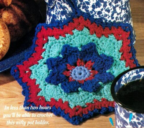 QUICK /& EASY Reversible Cotton Pot Holder//Crochet Pattern INSTRUCTIONS ONLY