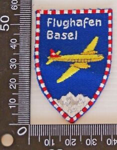 VINTAGE-FLUGHAFEN-BASEL-EMBROIDERED-SOUVENIR-PATCH-WOVEN-CLOTH-SEW-ON-BADGE