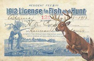 Vintage Nebraska Duck Hunting Fishing License Art Print 11x17 Cabin Wall Decor