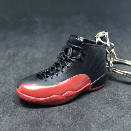 AIR JORDAN XII 12 RETRO BLACK RED FLU GAME 3D SNEAKERS KEYCHAIN FIGURE SHOES BOX