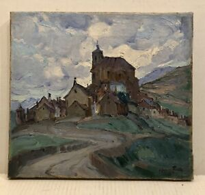 """Signed And Dated 1929 Early Spanish modernist landscape """"houses on the hill"""""""