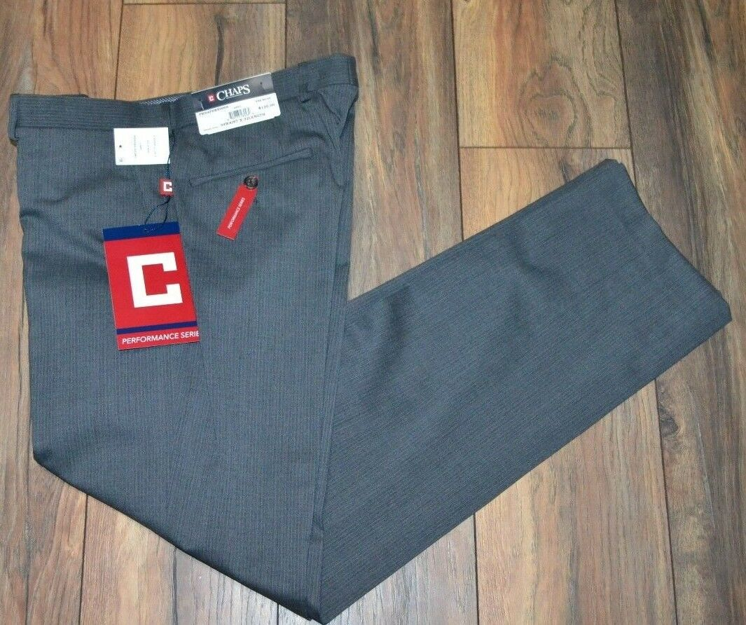 Chaps Performance Series Comfort Fit Wrinkle Resistant Easy Care Suit Pants Grey