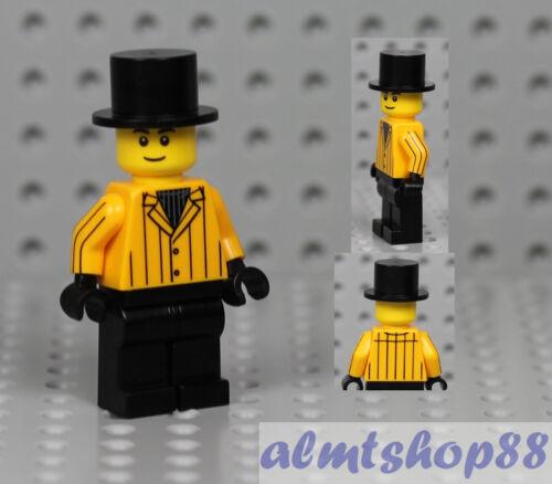 Male Minifigure w// Yellow Pinstripe Suit Jacket /& Top Hat Black Pants LEGO