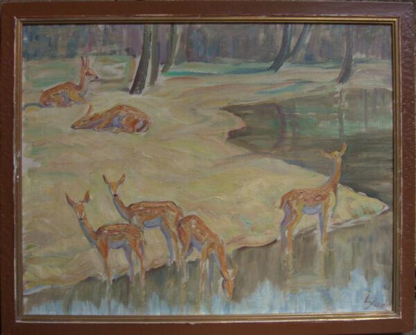 :: Gamo Schmaltiere Jährlinge 1935 Pintura Al Óleo Antiguo Firmado Caza ° Marco