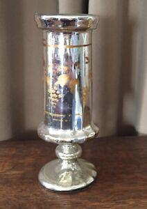 Details about Antique Victorian Silver Mercury Glass Vase Hand  Painted-81/4