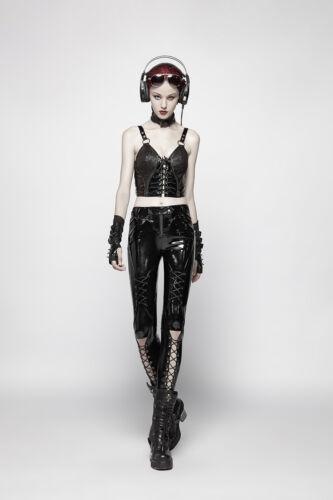Black bukser foran Punk Apocalyptic Glossy snøre Gothic med Pvc Rave forbenene 4aq5Iq