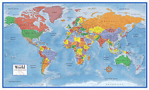 Map Of The World 3d.48x78 World Classic Premier 3d Wall Map Large Poster Mural Art