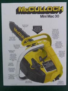 1975 mcculloch mini mac 30 chain saw sales brochure w specs ebay rh ebay com mcculloch mini mac 30 specs mcculloch mini mac 30 repair manual