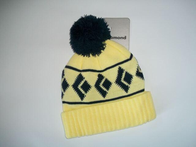 f92ab476425 BLACK DIAMOND Yellow   Navy Blue TOM POM Knit BEANIE Hat Cap womens One  Size NEW