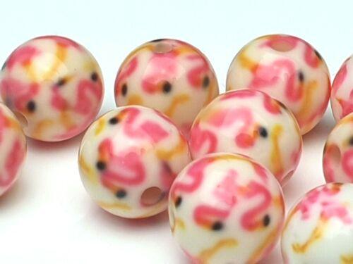 10 X  Flamingo Harz Resin Perlen weiß pink rund Kugel Ball Vogel Tier 10 mm