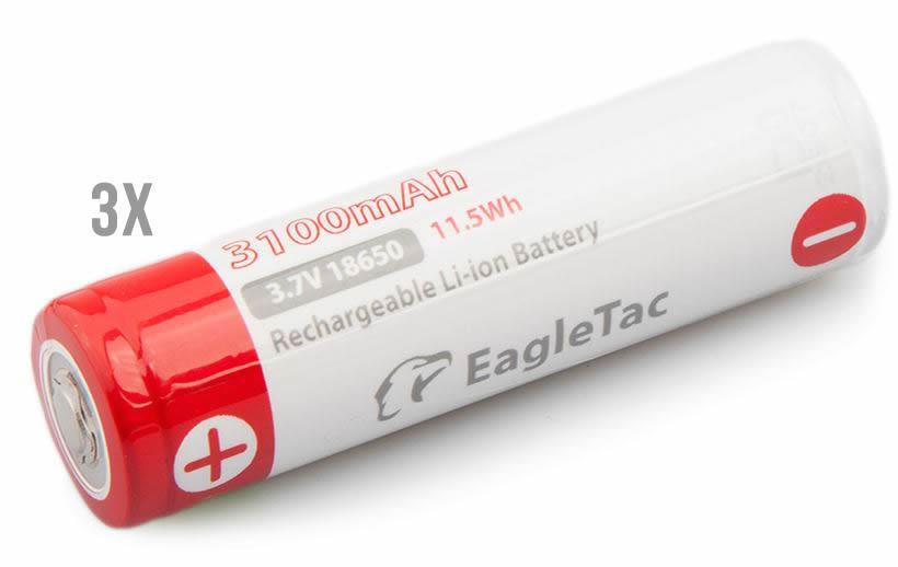 3er Premium Set Eagtac Li-Ion Akku 18650 3100 mAh NCR18650B Geschützt