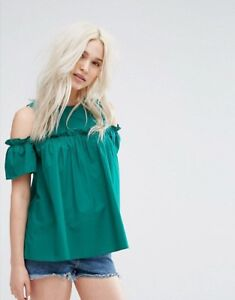 e2549b2108e606 Image is loading Pimkie-Ruffle-Front-Cold-Shoulder-Top-Green-Large