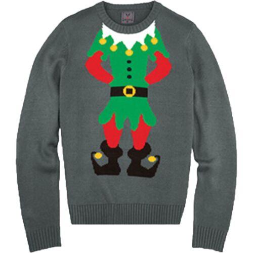 UNISEX CHRISTMAS JUMPER ELF BODY JOKER KNITTED XMAS MEN LADIES SWEATER SIZE 8-24