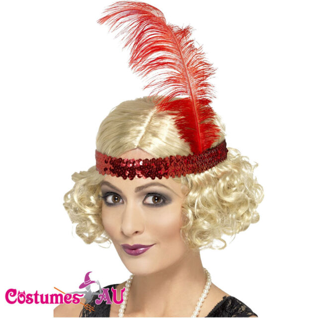 Charleston Wig Red Feather Headband Flapper 20s Gatsby Wigs Costume Accessories