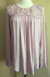 NWT-Women-039-s-Pink-Long-Sleeve-Philosophy-Crochet-Top-Small