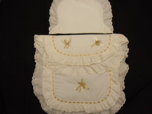 Beautiful Pram Quilt and Pillow  Set suitable for MOST PRAMS COLOUR CREAM GOLD