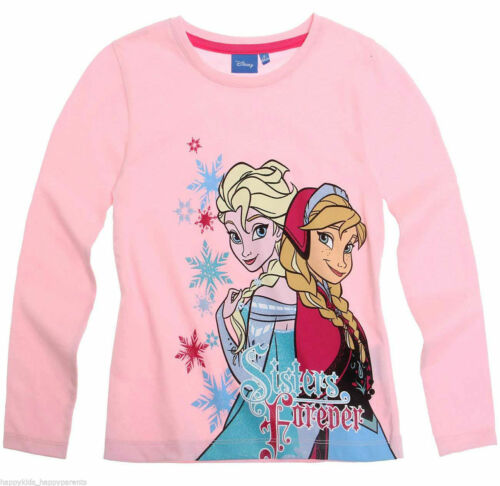Girls Disney 100/% Cotton Frozen Sisters Forever Pink Top 2-8 years
