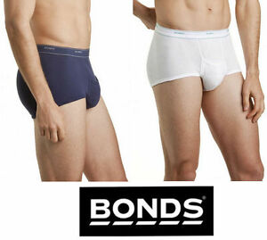 Mens-BONDS-White-Navy-2-PACK-Cotton-Briefs-Brief-Support-Undies-Underwear-Sport
