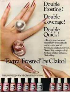 Vintage Beauty Fashion ad 1966 Makeup Extra Frosted Nail Polish by Clairol Frost