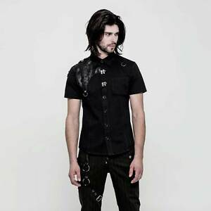 Herren Shirt Kurzarm Rave Schwarz Patch Punk hemd Shoulder Gothic Shortsleeve zUqWYF