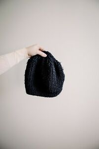 Vera-Wang-Simply-Vera-Beanie-Hat-Toque-Wool-Black-Knit-One-Size