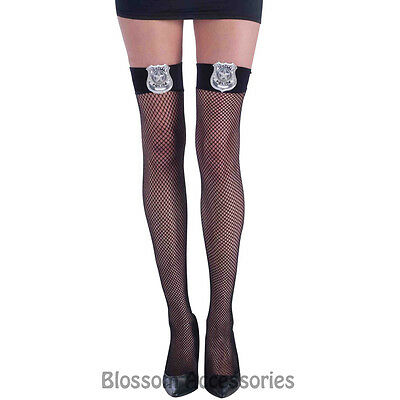 A530 Hottie Police Cops Fishnet Thigh Highs Ladies Fancy Dress Costume Stockings