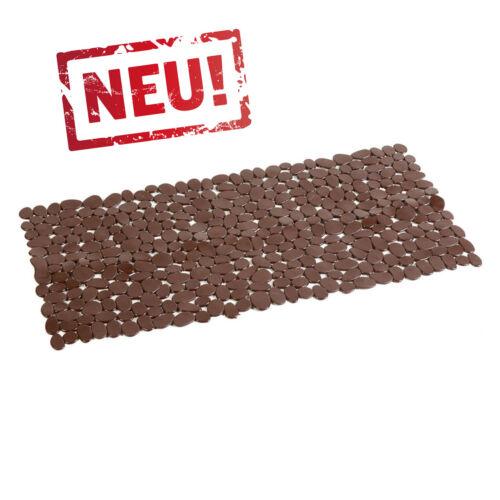 40x88cm Braune Wanneneinlage Anti Rutsch Matte Wannenmatte Kieselsteinoptik