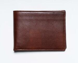 Isaia-Napoli-NWT-Medium-Brown-100-Leather-Bi-fold-Wallet-Card-Holder