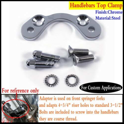 """Spring Handlebars Tree Adapter Top Clamp 3.5/"""" Wide Risers For Harley DNA Paughco"""