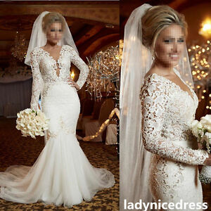 2018 Vintage Lace Appliques Bridal Gown Long Sleeve Mermaid Church ...