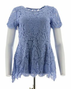 ISAAC-MIZRAHI-Live-Women-039-s-Floral-Lace-Short-Sleeve-Peplum-Top-Size-Medium-MINT