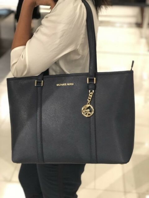 2e3ed42a2d35 Michael Kors Leather Sady Large Multifunction Top Zip Tote Bag Navy ...