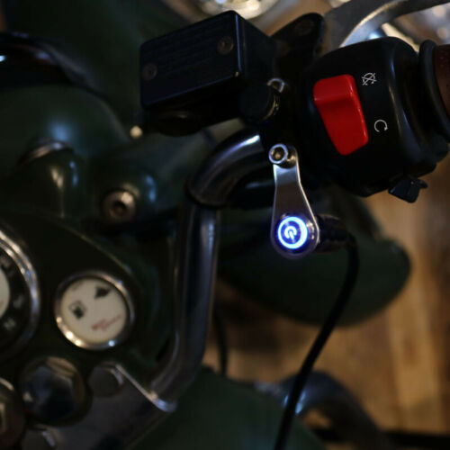 Universal LED Dual ON-OFF Push Button 12V Motorcycle Handlebar Switch Cafe Race