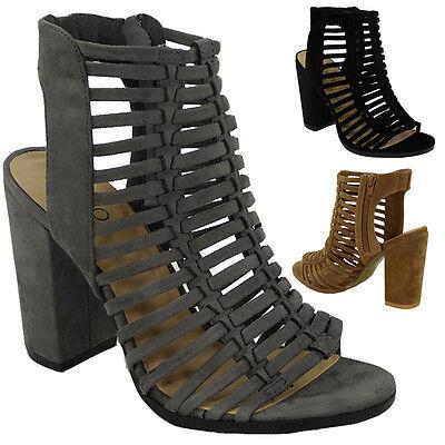 Nuevo Mujer Damas Tacón De Bloque De Alto Peeptoe Sandalias Zapatos Talla de la correa de múltiples de recorte
