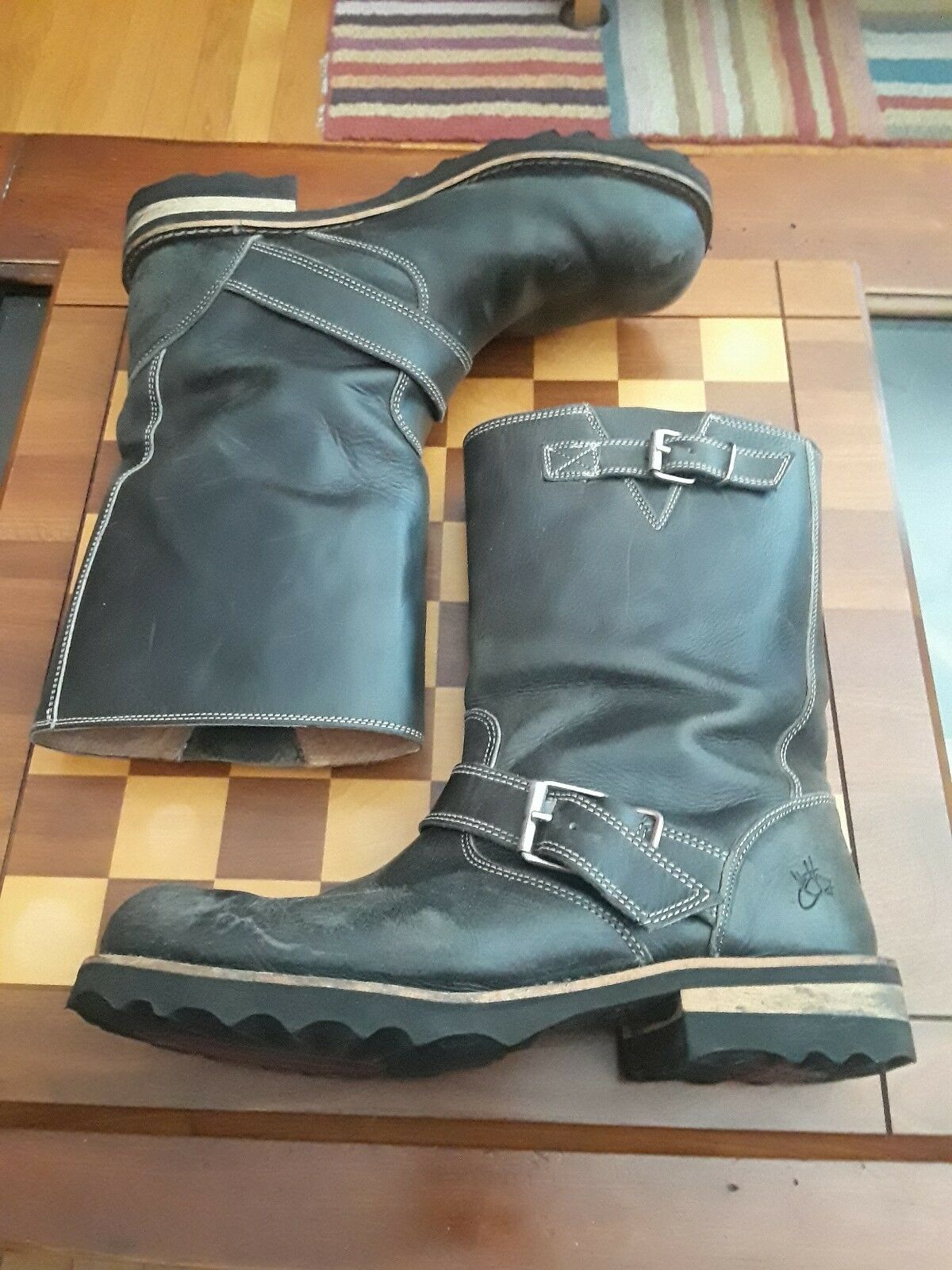 John fluevog F Bota Grande Grande Grande Ruth Cuero Negro botas Mitad de Pantorrilla EE. UU. 11 Reino Unido 9  precio razonable