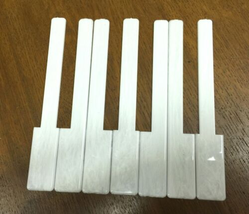 "Glossy Grained White 1 Octave 2/"" Long Head Simulated Ivory Piano Keytops"