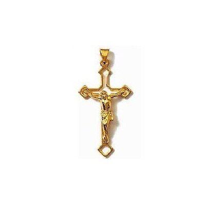 PENDENTIF grande CROIX catholique CHRIST Plaqué OR neuf